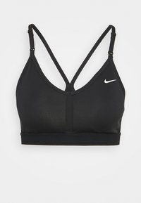 Nike Performance - INDY BRA V NECK - Sujetadores deportivos con sujeción ligera - black/white - 0