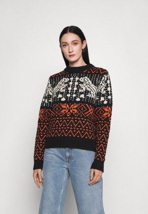 ABBY - Stickad tröja - black/orange/cream