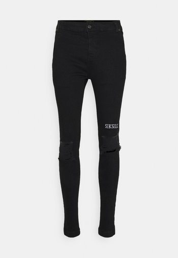 RAW HEM BURST KNEE - Jeans Skinny Fit - black