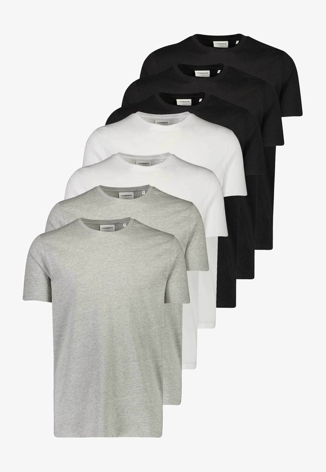 7 PACK - T-shirt basic - white/ black/ grey