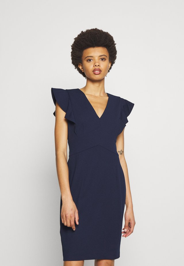V-NECK RUFFLE CAP SLEEVE SHEATH - Tubino - spring navy