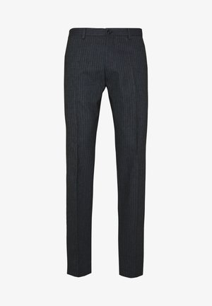 HERRINGBONE SLIM FIT PANTS - Pantalones - black