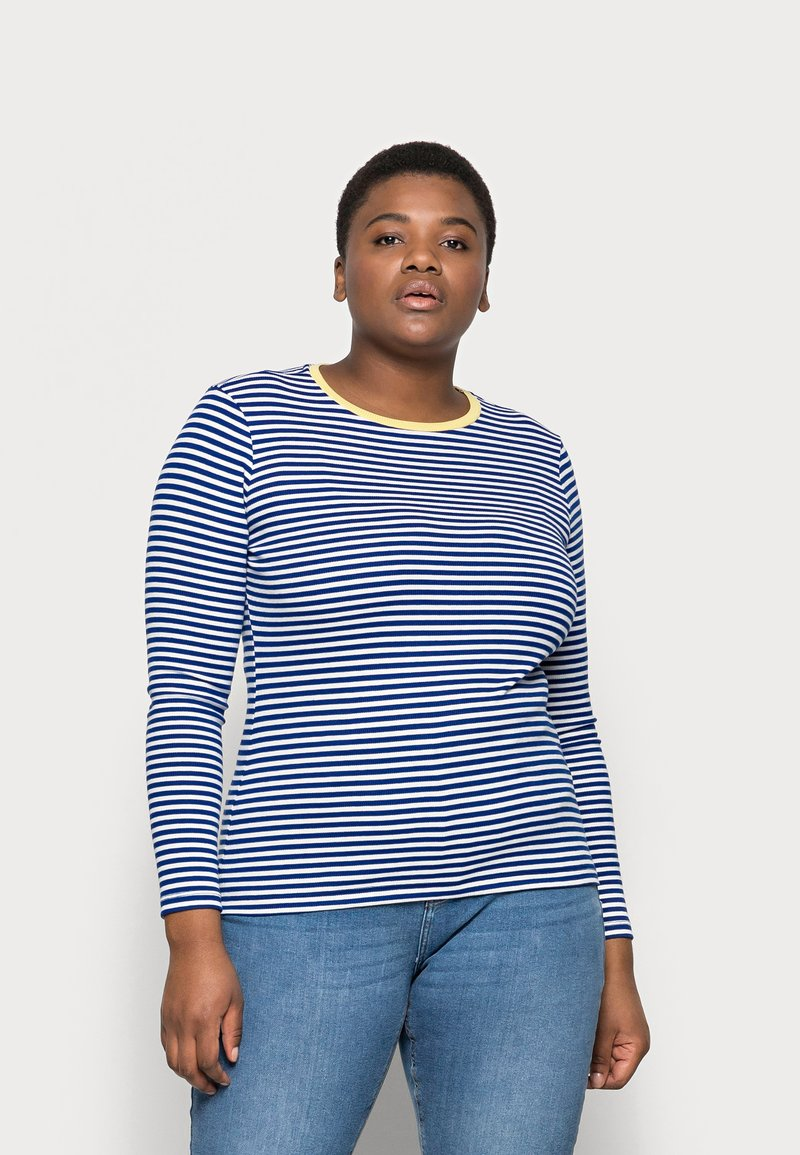 ONLY Carmakoma - CARTINE  - Long sleeved top - blue/white