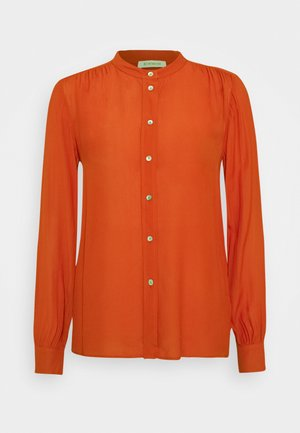 BLOUSE WITH GATHERING DETAIL - Button-down blouse - rusty red