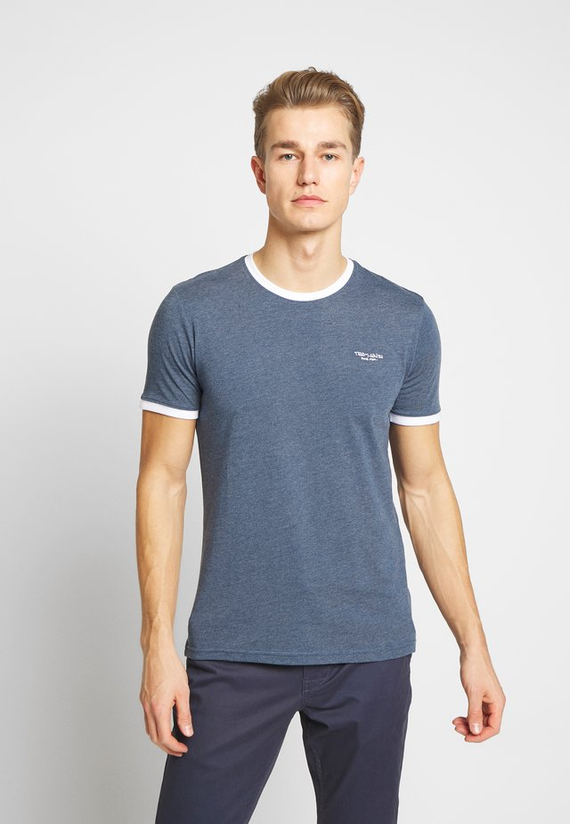 Basic T-shirt - indigo chine/blanc