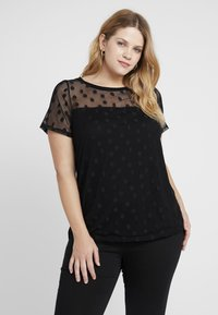 Dorothy Perkins Curve - SPOT TEE BLACK - Basic T-shirt - black - 0