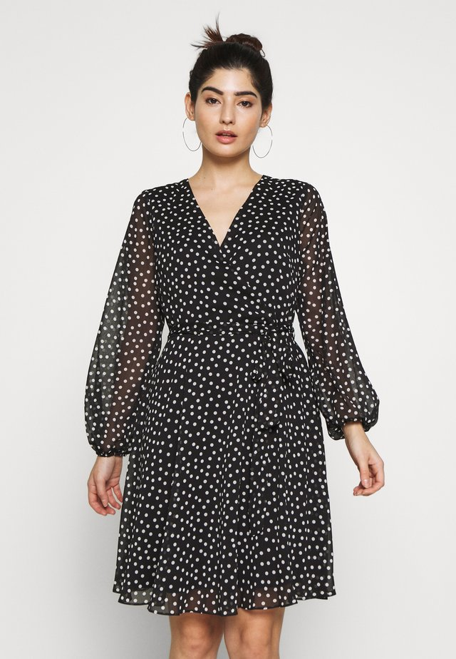 SPOT WRAP FIT AND FLARE DRESS - Day dress - black