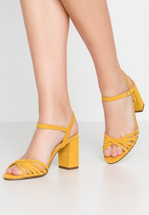 LEATHER - High heeled sandals - yellow