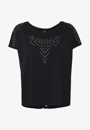 ONPFIONA ATHL LOOSE TEE - Camiseta estampada - black/white