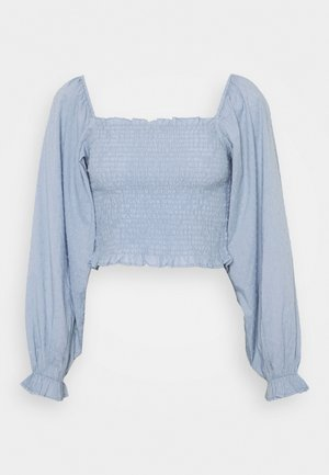 DOBBY SMOCKED BLOUSE - Blůza - light blue