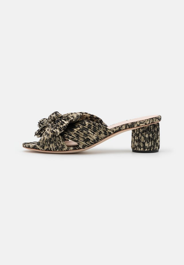 EMILIA PLEATED KNOT MULE - Ciabattine - black/champagne