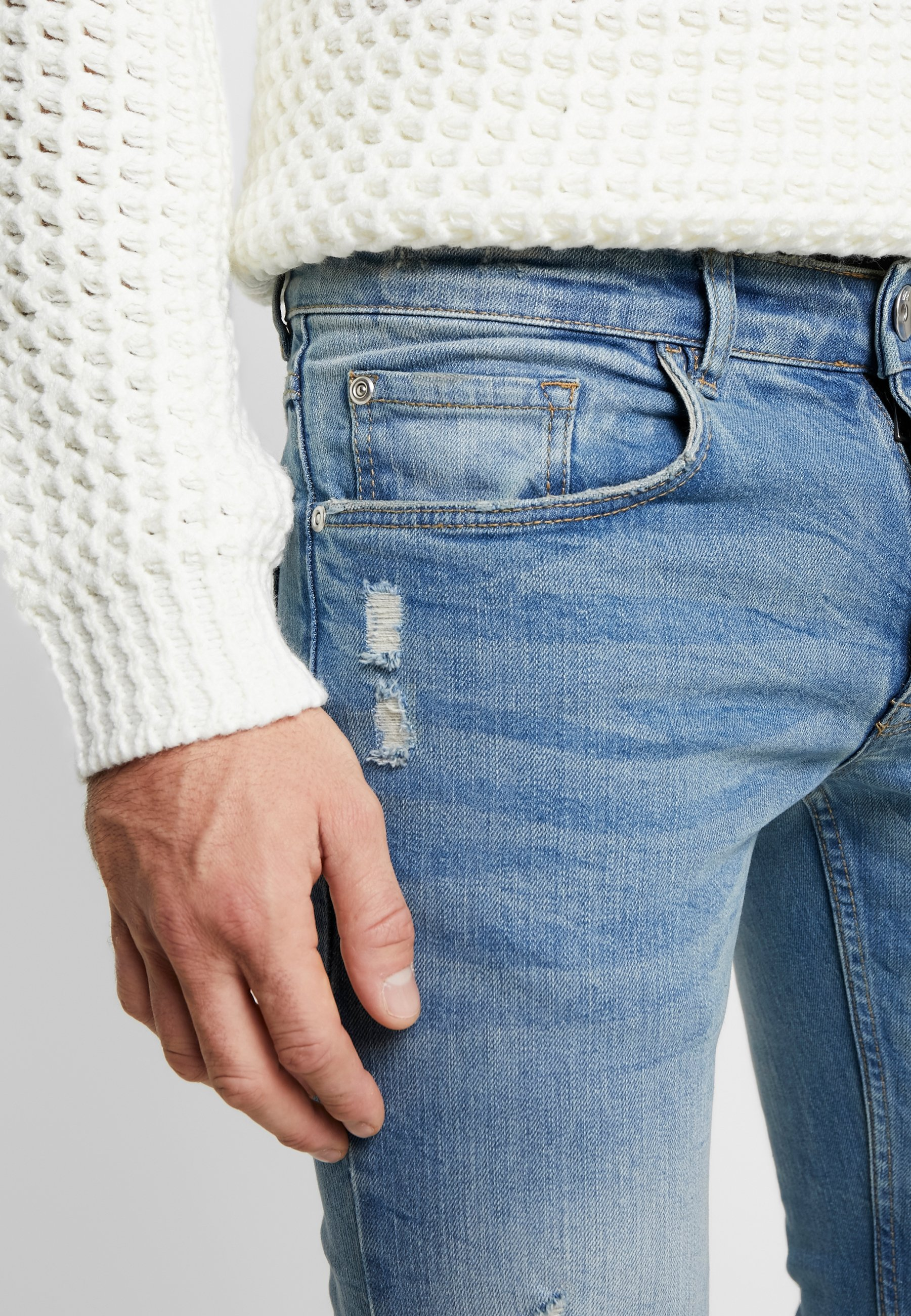 Redefined Rebel Stockholm Destroy - Jeans Slim Fit Arctic Blue/blå Denim