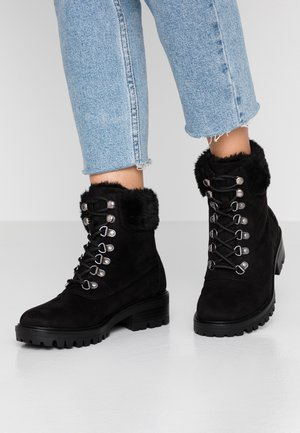MILLIE COLLAR LACE UP HIKER - Lace-up ankle boots - black