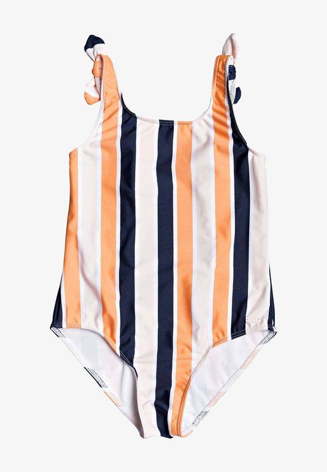 Swimsuit - cadmium orange pong stripes s
