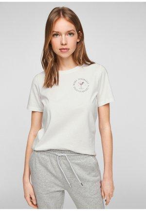 Print T-shirt - cream small print