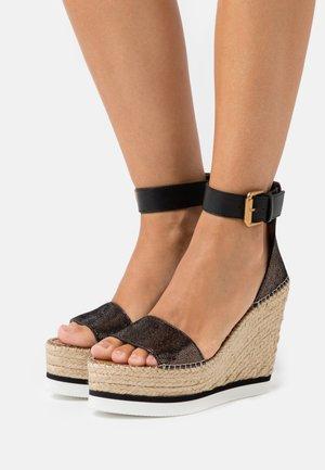 High heeled sandals - diamond/olivo/natural/nero