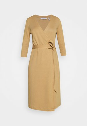 WRAP OVER COLLAR DRESS - Jumper dress - camel