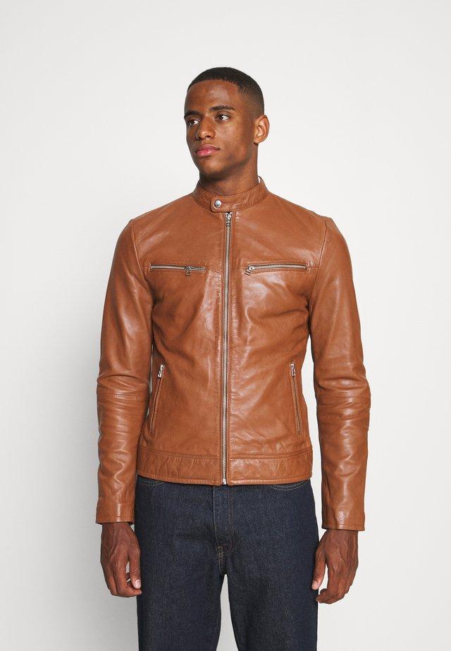 KYLL BIKER - Leather jacket - dark cognac