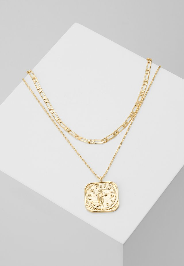 SQUARE COIN CHAIN ROW NECKLACE 2-IN-1 - Collar - pale gold-coloured