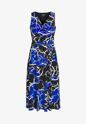 PRINTED MATTE DRESS - Žerzejové šaty - black/regal sapph