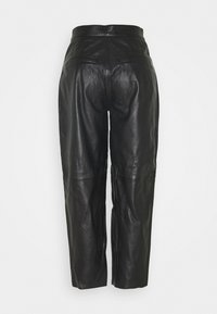 Selected Femme - SLFAGNES CROPPED PANT - Leather trousers - black - 1