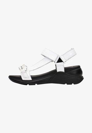 GALIA  - Wedge sandals - white/black