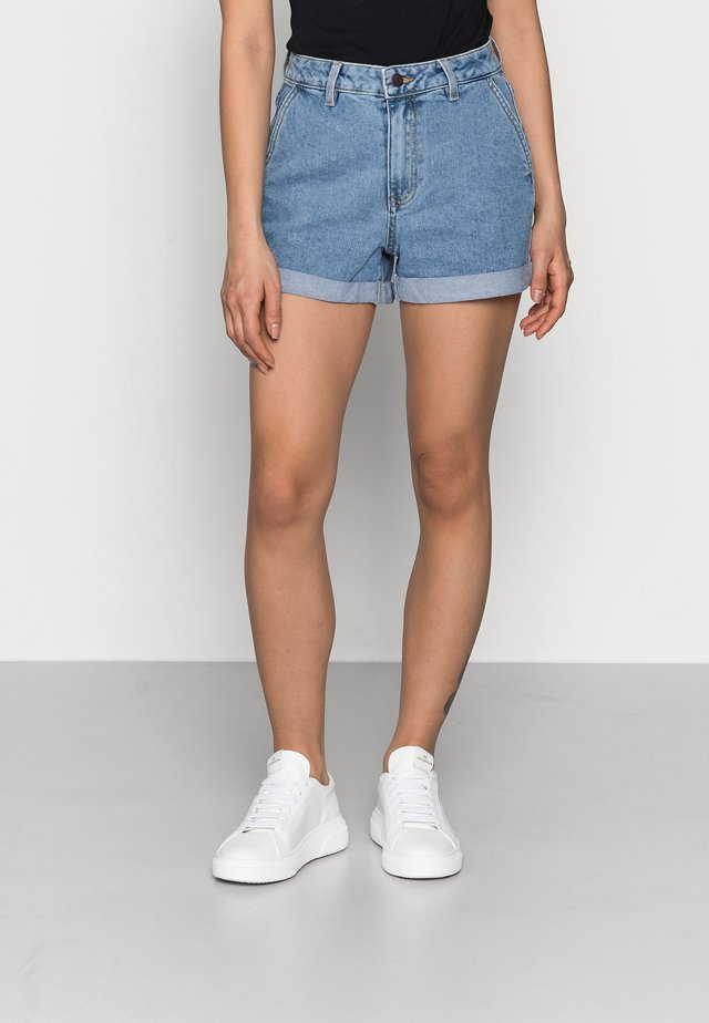 OBJPENNY FOLD DENIM  - Shorts - light blue denim
