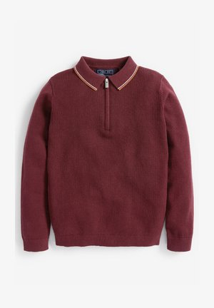 ZIP NECK KNITTED - Polo shirt - red