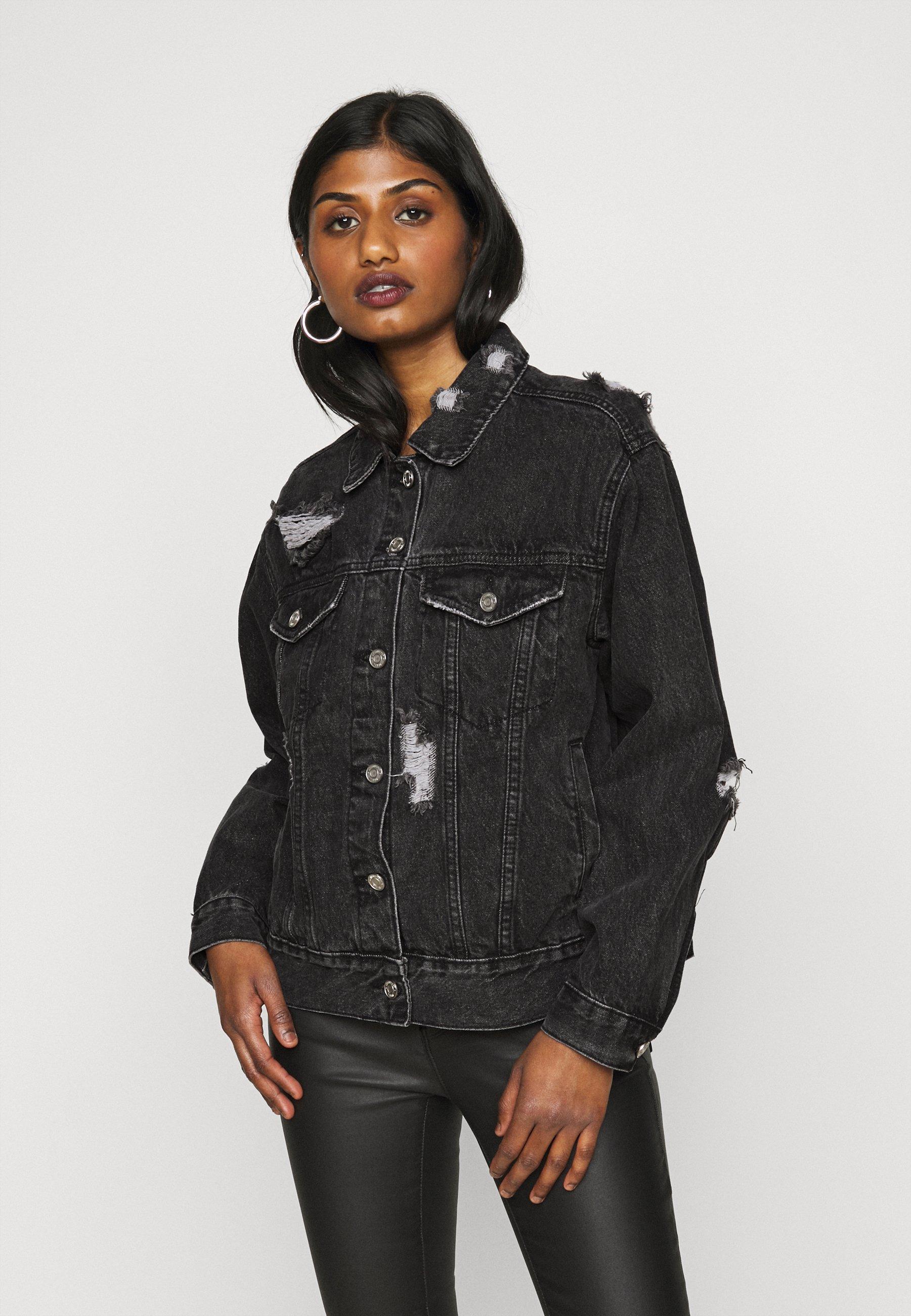 Women DISTRESSED OVERSIZED BOYFRIEND JACKET - Denim jacket