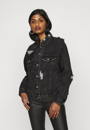 DISTRESSED OVERSIZED BOYFRIEND JACKET - Denim jacket - washed black
