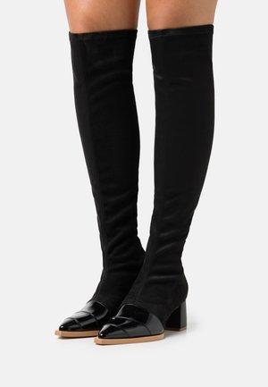 PHI - Kozačky nad kolena - black/nude