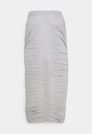METALLIC RUCHED SKIRT - Jupe crayon - silver