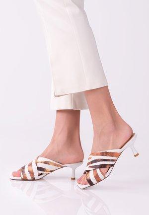 Heeled mules - brown,white,black