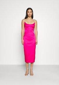 Missguided - DIAMANTEN LOOK TIE STRAP DRESS - Cocktail dress / Party dress - hot pink - 0