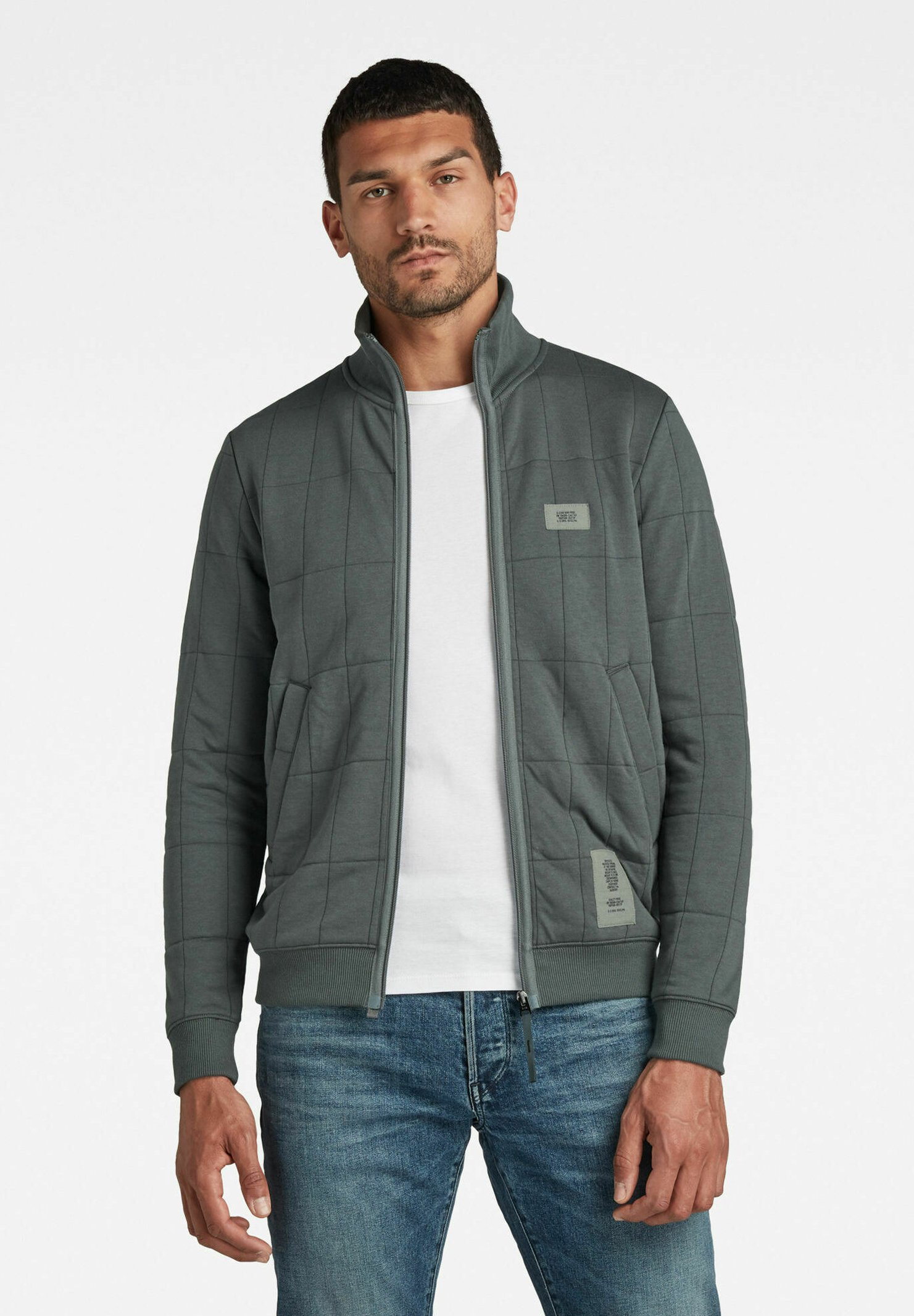 Homme SQUARE QUILTED ZIP THROUGH - Gilet