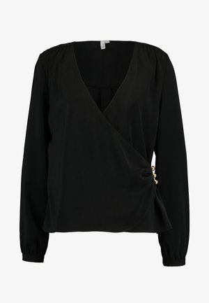 FANCY BUTTON WRAP BLOUSE - Blouse - black