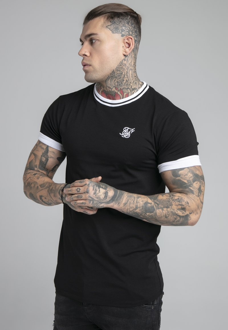 SIKSILK - ROLL SLEEVE TEE - T-shirt basic - black/white