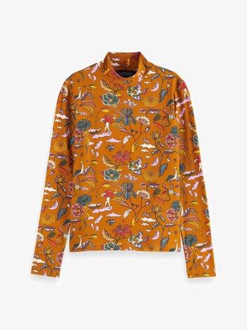 PRINTED LONG SLEEVED HIGH NECK - Long sleeved top - orange