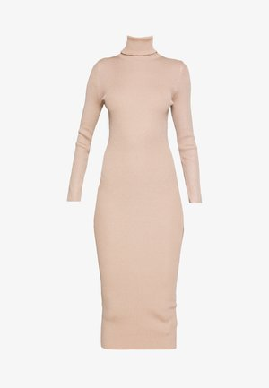 ROLL NECK MIDI DRESS - Tubino - camel
