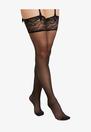 FALKE SEIDENGLATT 15 DENIER STAY UPS TRANSPARENT GLÄNZEND - Over-the-knee socks - black
