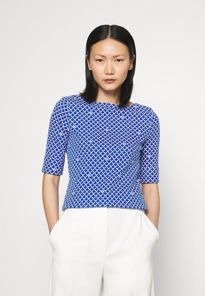 Lauren Ralph Lauren - JUDY ELBOW SLEEVE - Print T-shirt - sapphire star/white