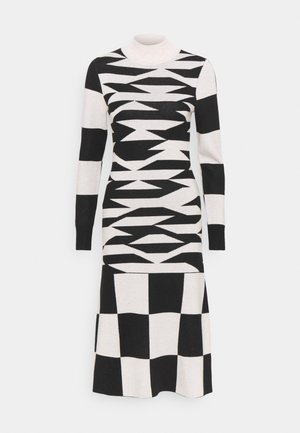 ABSTRACT GEO DRESS - Strikket kjole - black/tan