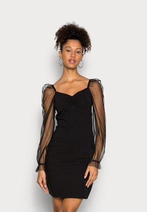 LONG PUFF SLEEVES RUSHING BODYCON DRESS - Sukienka koktajlowa - black