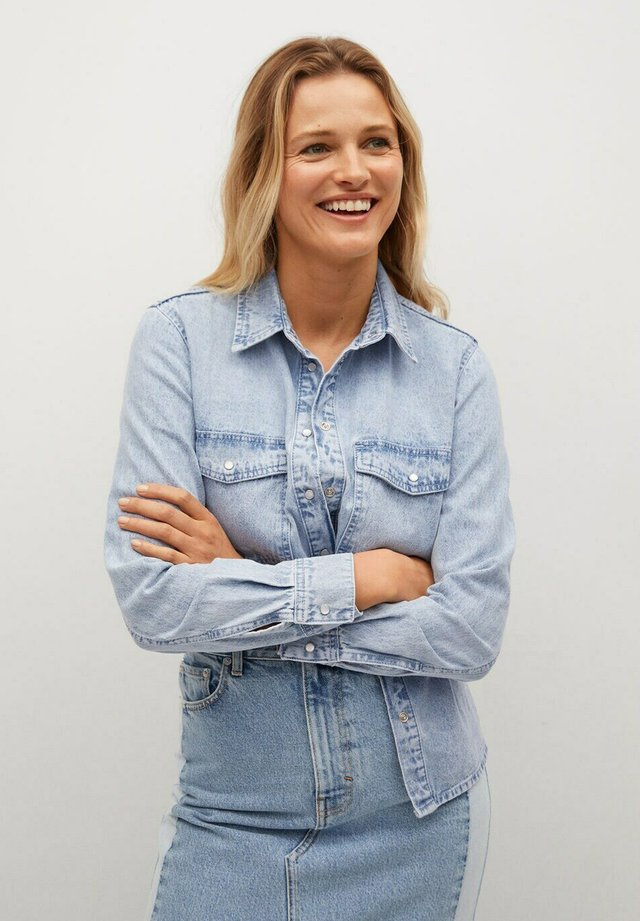 ANGY - Button-down blouse - mittelblau