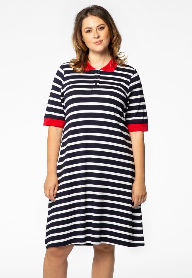 Jersey dress - navy/off-white