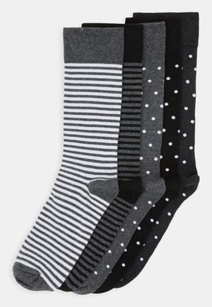 5 PACK - Chaussettes - black/mottled grey