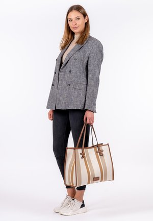 ESTHER - Handbag - cognac stripes