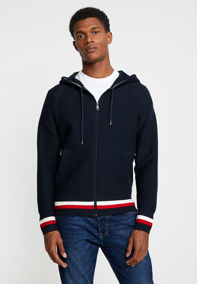Tommy Hilfiger - STRUCTURED BRANDED ZIP HOODY - Cardigan - blue