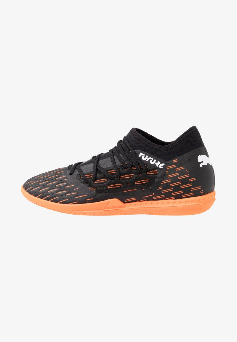 Puma - FUTURE 6.3 NETFIT IT - Indoor football boots - black/white/shocking orange