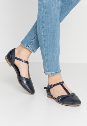Ankle strap ballet pumps - navy